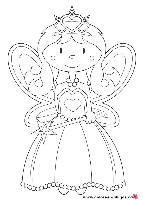 Dibujos de princesas.Colorear dibujos de princesas de cuentos