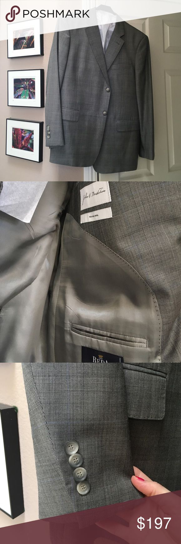 Sexy NWOT John W Nordstrom 46R/40W greyplaid suit NWOT Super sexy grey plaid with hint of baby blue Taylored for cuff links. 34/35 ( shirt size)(  possibly herring bone)  bought this for a wedding, then got sick and never went to wear it. Expensive $995 suit! 46R/ W40 by John Nordstrom pants are plain front. John W. Nordstrom Suits & Blazers Suits