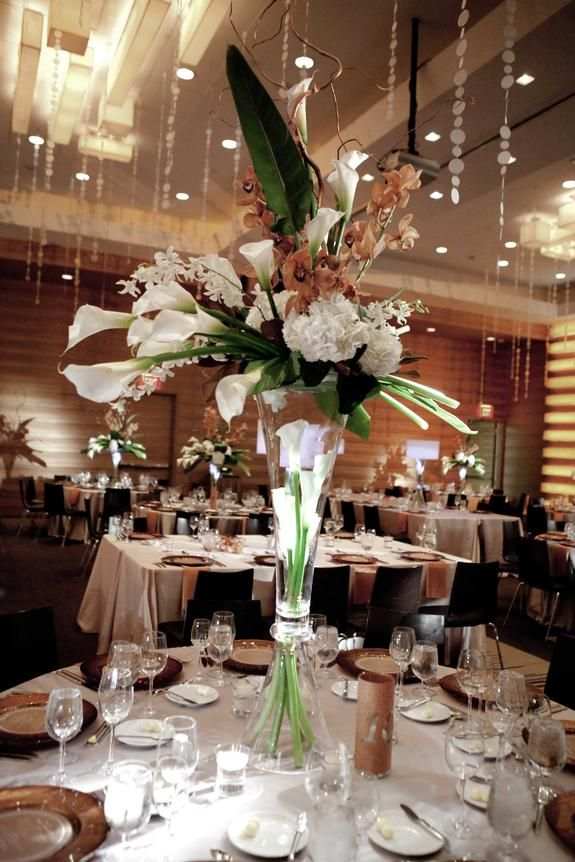 A Stylish Ballroom Wedding With Modern Elegance Tall CenterpieceWedding CenterpiecesCenterpiece RentalsBallroom