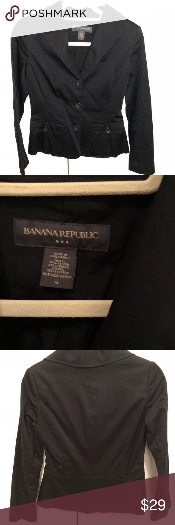 Banana Republic black blazer BANANA REPUBLIC - Soft versatile blazer perfect with a pair of jeans or dressed up for the office.  - 97% cotton, 3% spandex Banana Republic Jackets & Coats Blazers