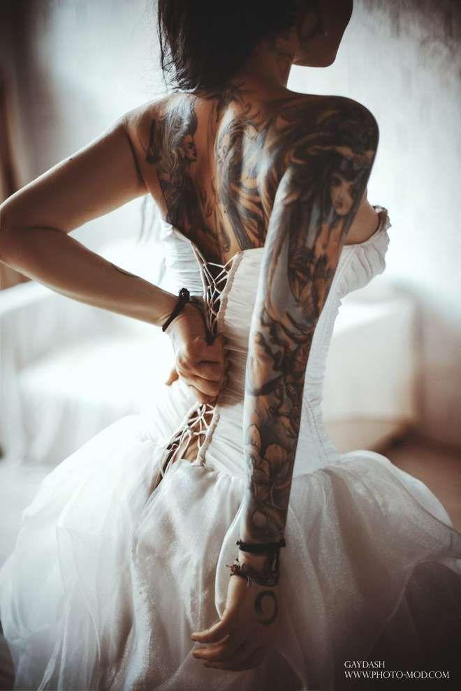 Les 20 plus belles photos de mariages de femmes tatouées