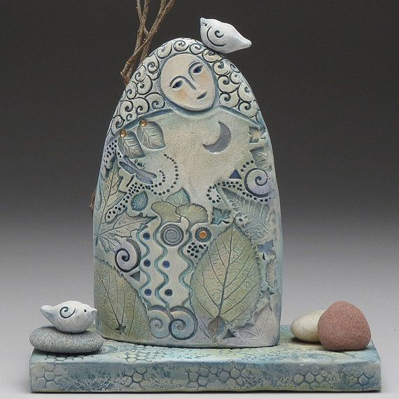 Goddess of the forest, ceramic sculpture, nature, handmade, art , one of a kind