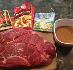 (4 -5 lb) beef roast, any kind    (1 1/4 ounce) package brown gravy mix, dry    (1 1/4 ounce) package dried Italian salad ...