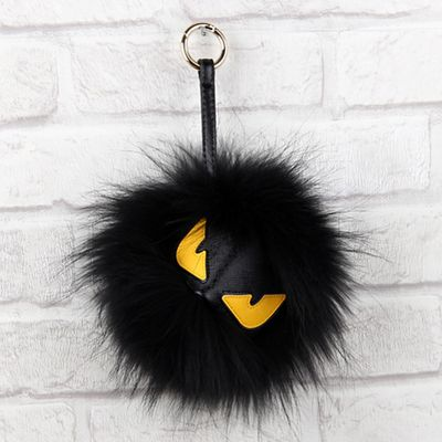 Real Fur Bag charm monster bugs bag charms-Classic Monster Fur Pom Pom Purse/Keychain Charm Accessories- Black Furry Yellow Eyes Monster Charms Fluffy Keychains