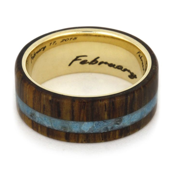 Wedding Ring Bands >> Wood Wedding Band with Turquoise and Engraved Yellow Gold Ring-1803 | Turquoise wedding jewelry ...