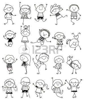 niños de palitos: esbozo de dibujo - Grupo de niños Vectores