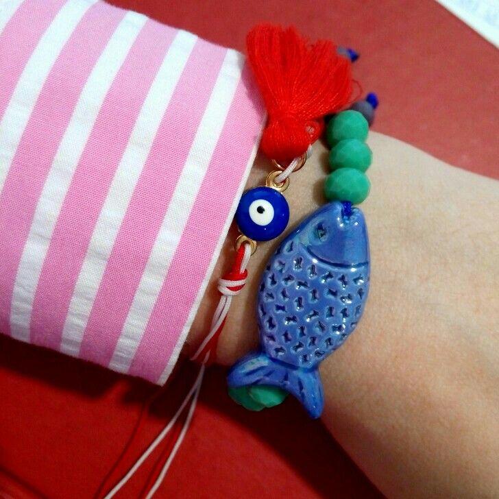 Handmade unique bracelet with ceramic fish. Love this little blue fish. Lovely bracelet. Bracelet. 🐡🐠🐟