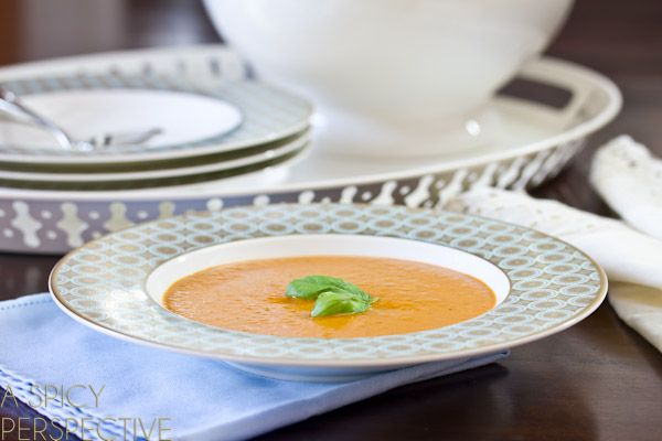 A Healthy Tomato Bisque Recipe with big flavor and very little guilt! My tomato basil soup has a secret ingredient that might surprise you, helping to light