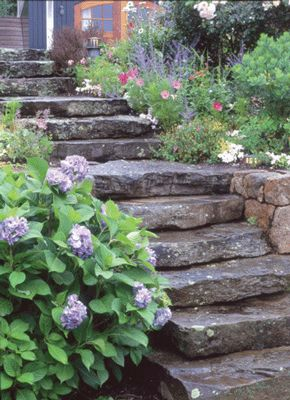 "Working the rustic stone steps into my garden landscape, creating something that seems to lead to a mystical, intriguing other ""room""."