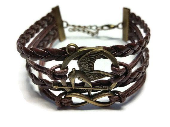 Brown Mockingjay Arrow Bracelet Womens Bracelet by BriAndAshStore