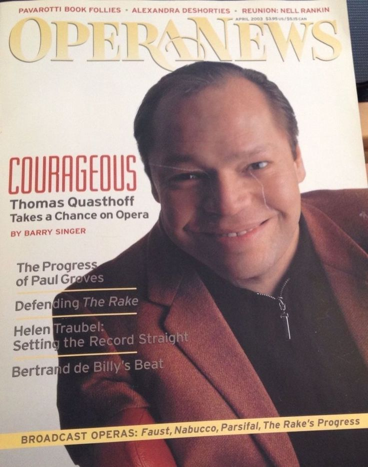 Opera News Magazine April 2003 Thomas Quasthoff Paul Groves The Rakes Progress #OperaNews