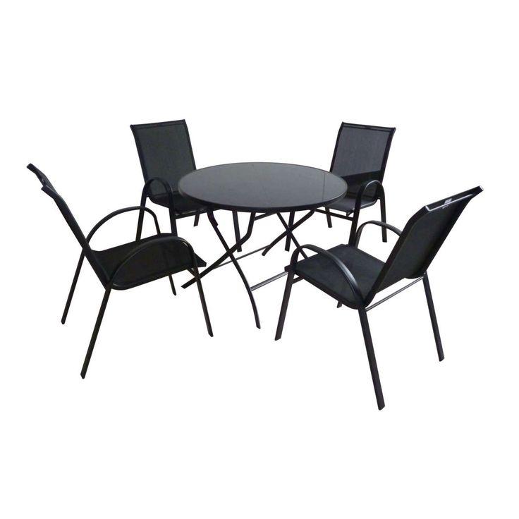 5 Piece Round Steel & Textilene Garden Set #SummerLovin