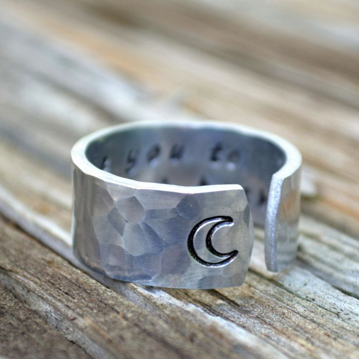 I Love You to the Moon and Back Ring / Promise Ring /  Cuff Ring /  Gifts for him / guy gifts / gifts for her / moon ring by TheVillageGifts on Etsy https://www.etsy.com/listing/129088904/i-love-you-to-the-moon-and-back-ring
