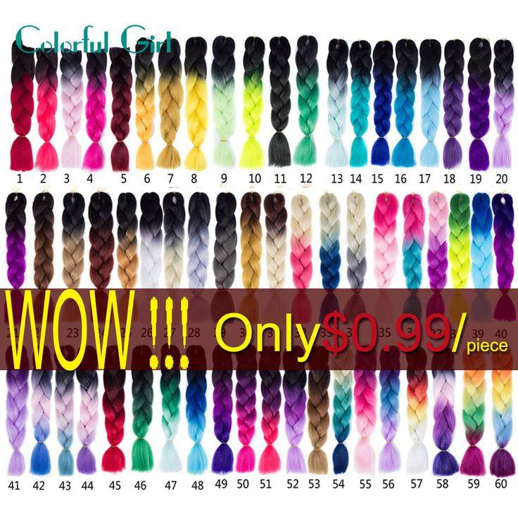 Xpressions/Ombre Kanekalon Braiding Hair 24Inch Kanekalon Ombre Green/Pink/Purple Braiding Hair 100g Jumbo Braid Hair Faux Locs