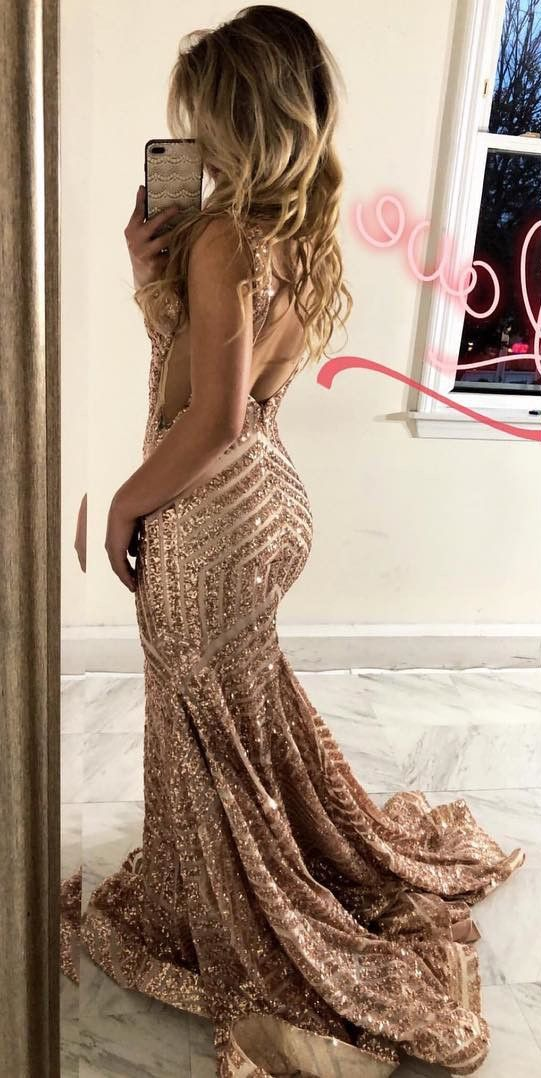 b51e202b7a Sexy Deep V Neck Rose Gold Sequins Mermaid Long Prom Dress Evening Dress