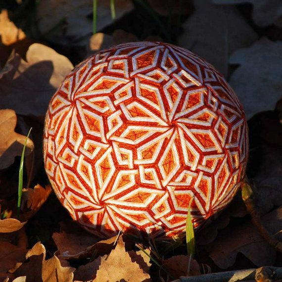 Blossoming Sun temari ball by mfrid on Etsy, $30.00