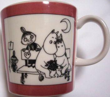 Muumimuki Roosa sarjakuva, vintage Moomin mug