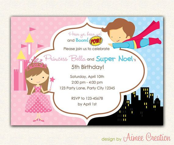 Princess and Superhero Birthday Invitation PRINTABLE - DIY Party for Boys and Girls Personalized (Twin / Siblings / Joint) on Etsy, $14.00