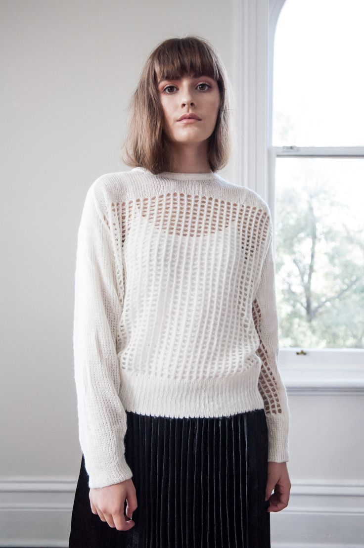 Hello Parry - Sawyer Perforated Knit Sweater -White