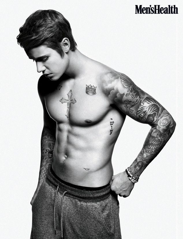 Justin Bieber shows off his abs for Men's Health! Lookin' good Biebs!