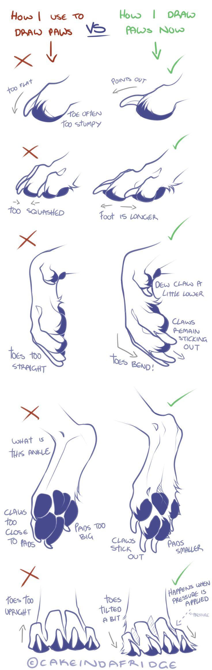 tutorial|how i use to draw my canine paws by Cakeindafridge.deviantart.com on @DeviantArt