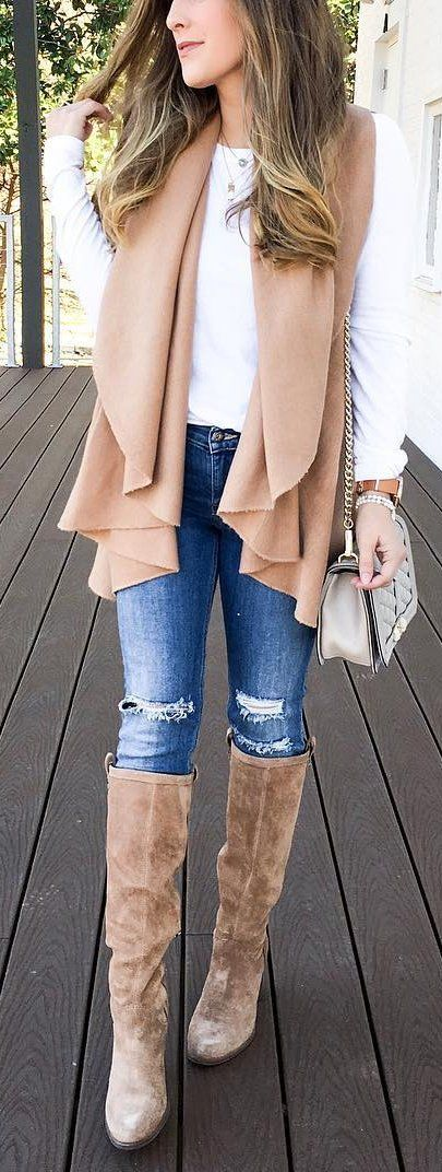#winter #fashion /  Camel Vest / White Blouse / Ripped Skinny Jeans / Brown OTK Boots