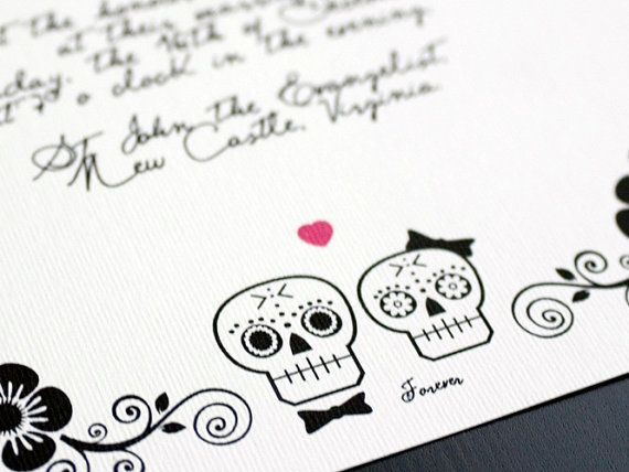 95 best invitations with a twist images on pinterest invitation day of the dead wedding invitation suite halloween sugar scull diy set till death stopboris Image collections