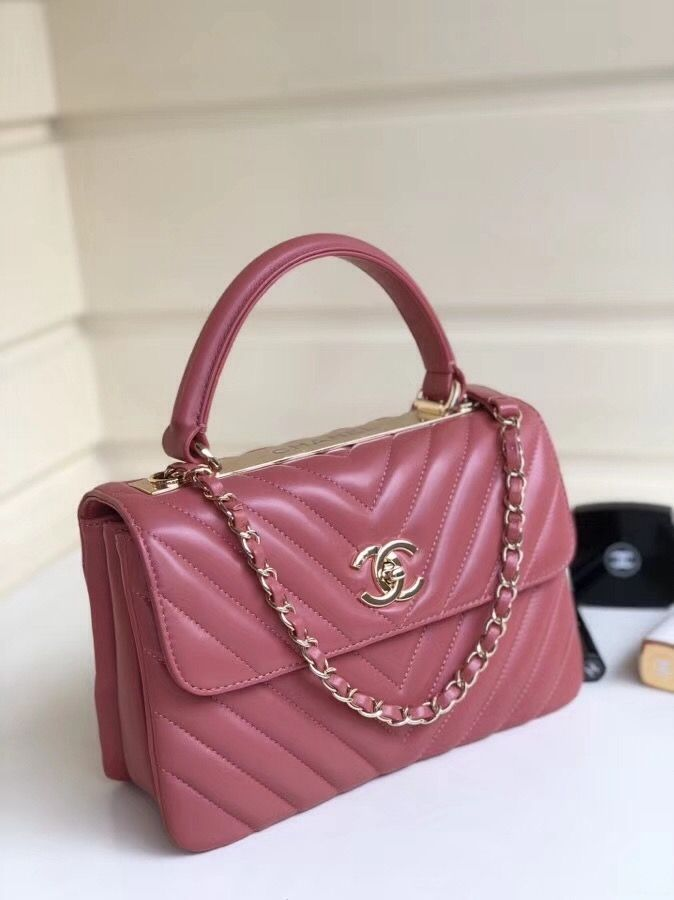 ada65c527a4e Chanel Chevron Small Trendy CC Flap Bag With Top Handle A92236 Rose Pink  2018(Gold-tone Hardware)