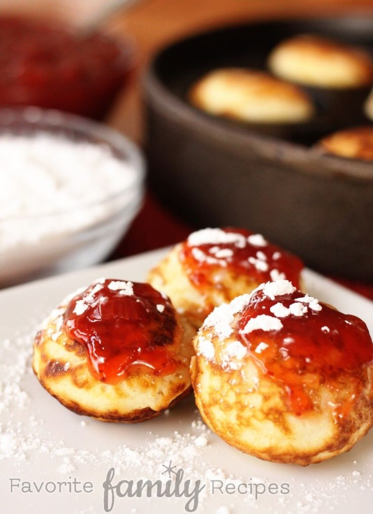 Aebleskiver -- one of my FAVORITE Danish treats! A Christmas tradition in our family.