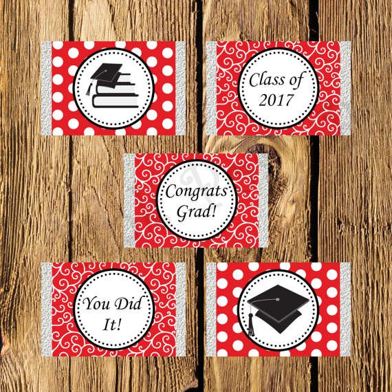 Printable Red and White Graduation Mini Candy Bar Wrappers