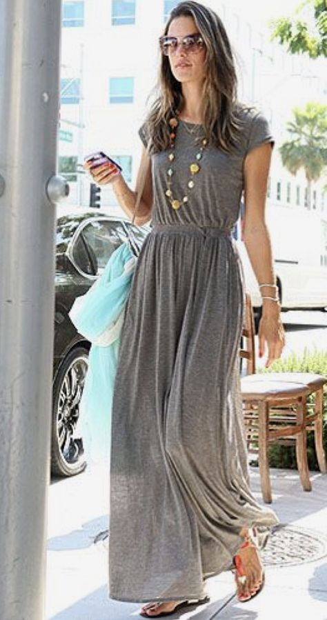 Spring and Summer Outfit trends for 2017. Gorgeous grey maxi dress and a chunky necklace.
