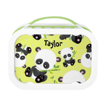 Adorable Panda Yellow Personalize Lunch Box - black and white gifts unique special b&w style