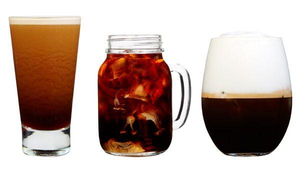 De gauche à droite, Nitro Cold Brew, Cold Brew Vanilla Sweet Cream, Iced Cappuccino Starbucks #cafe #coffee