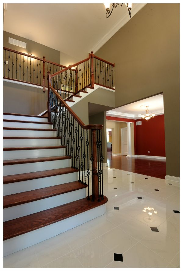 Creve Coeur Custom Home Grand Foyer With Porcelain Tile