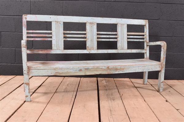 Blue Vintage Distressed Bench | Vinterior London  #vintage #design #bench