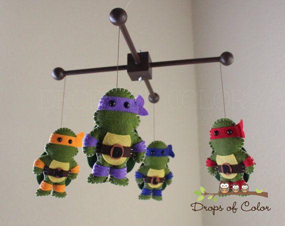 Baby Mobile Baby Crib Mobile Ninja Turtle by dropsofcolorshop
