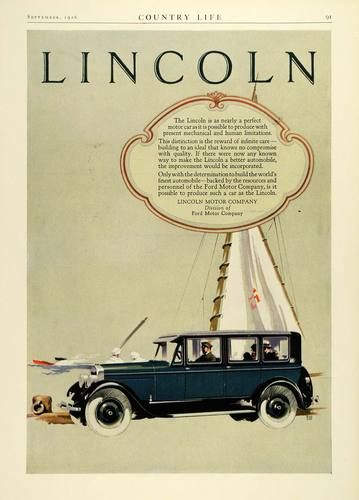 1926 Ad Lincoln Motor Cars Vehicle Sailboat SHIP Automobile Sail Ford Company | eBay