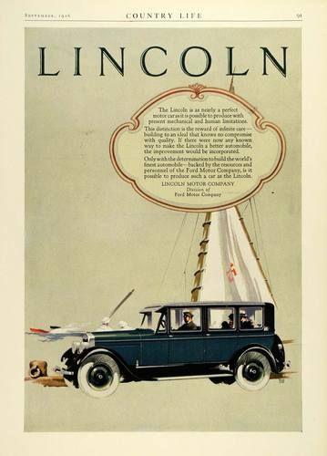 1926 Ad Lincoln Motor Cars Vehicle Sailboat SHIP Automobile Sail Ford Company | eBay