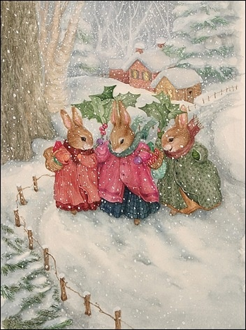 Three Ladies, Holly Hill .@@@@@.....http://www.pinterest.com/jennifergbrock/vintage-christmas-images-art-illustration-that-evo/