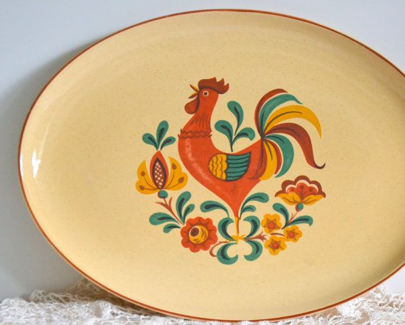 Taylor Smith And Taylor Mid Century Reveille Rooster Dishes Set Of 25