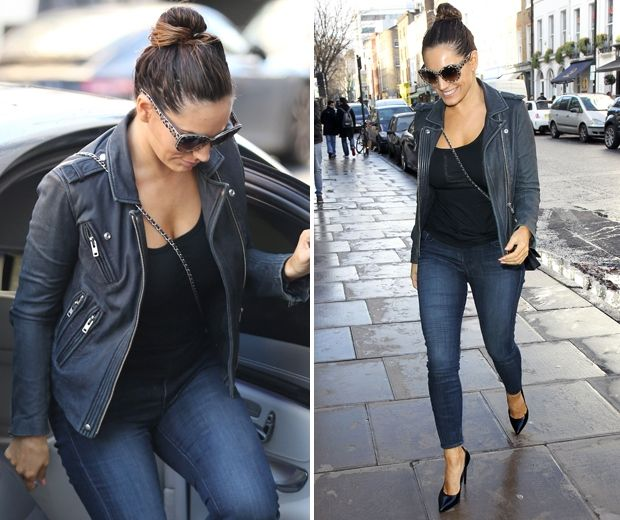 Kelly Brook rocked a biker chic look yesterday, featuring blue skinny jeans and a black leather jacket