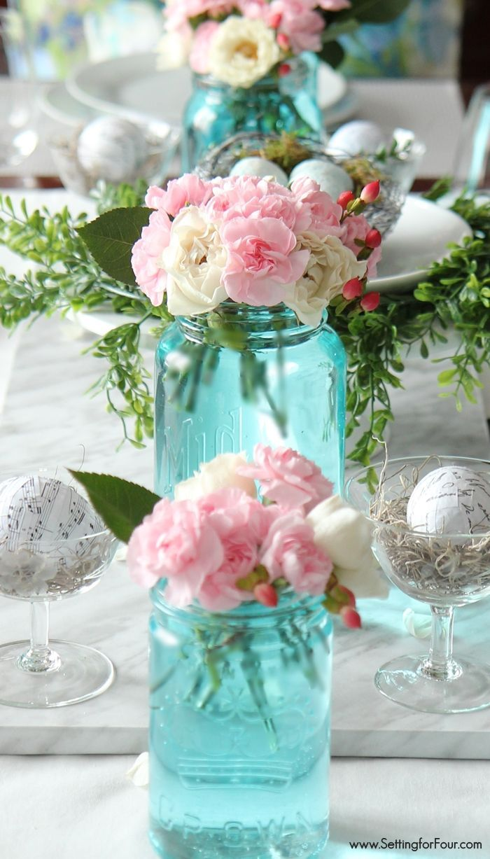 DIY Spring decor ideas with mason jars. Tint them blue.