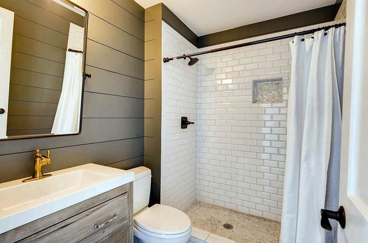 Shiplap Bathroom Ideas Shiplap Bathroom Bathroom Accent Wall White Subway Tile Shower