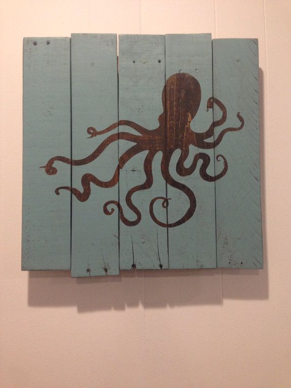 I like especially how the octopus is the original wood showing through. | FREE SHIPPING 17x17 Octopus Reclaimed Pallet Sign by SaltyLove, $70.00