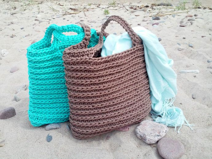 Knitted Bags/ Rope Bags/ Handmade Bags/ Crochet Bags/ Tote/ Beach Bags/ Market Bags/ Mint Bags/ Summer Handbags/ Gift for wife by NataStudio, $40.00 USD