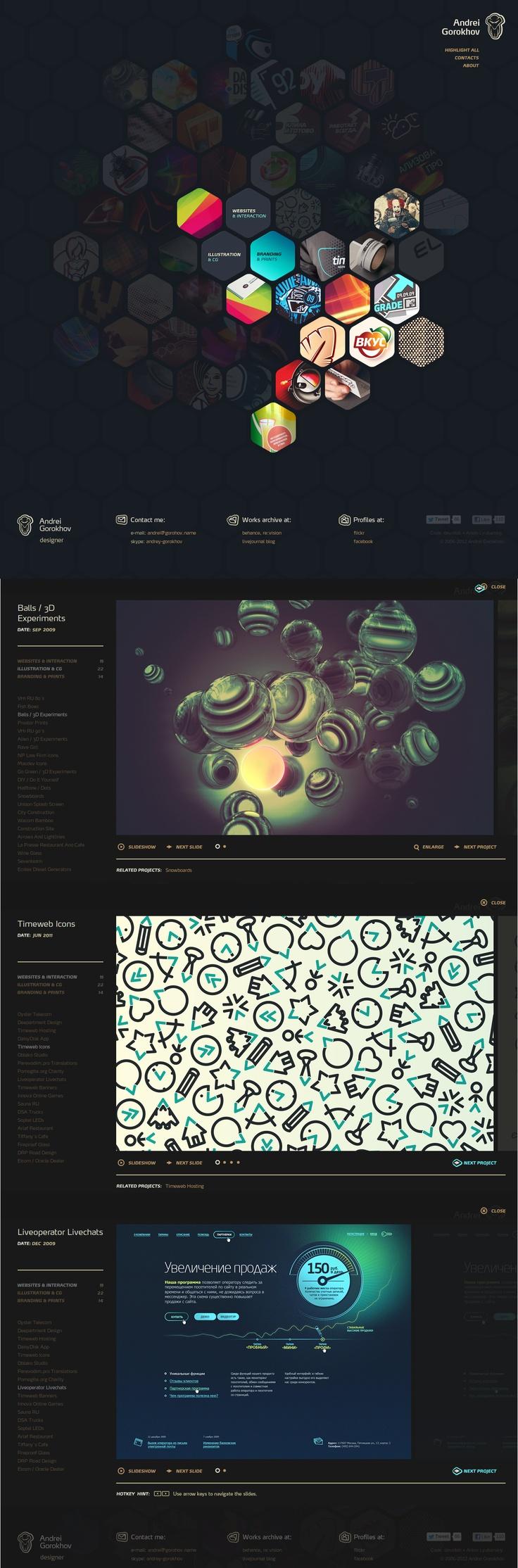 Unique Web Design, Andrei Gorokhov #WebDesign #Design (http://www.pinterest.com/aldenchong/)