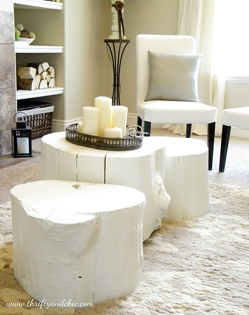 DIY Tree Stump Coffee Tables --<br /> I have some of these in my home (though, must admit, that I bought them). They are a bit different. BUT, i've seen these in stores for several hundred dollars. How easy to make yourself!!!