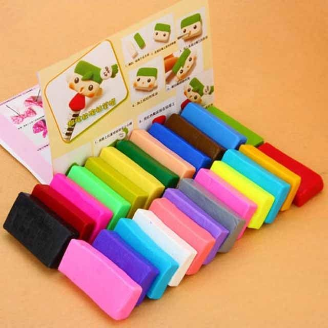 24 x Colorful Soft Polymer Plasticine Fimo Effect Clay Blocks DIY Educational J #Unbranded