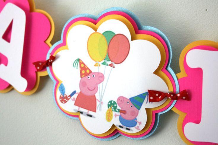 Peppa Pig Inspired Birthday Banner Peppa Pig by treelittlebirdz