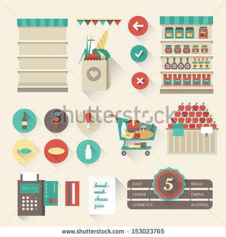 Vector supermarket icons - stock vector